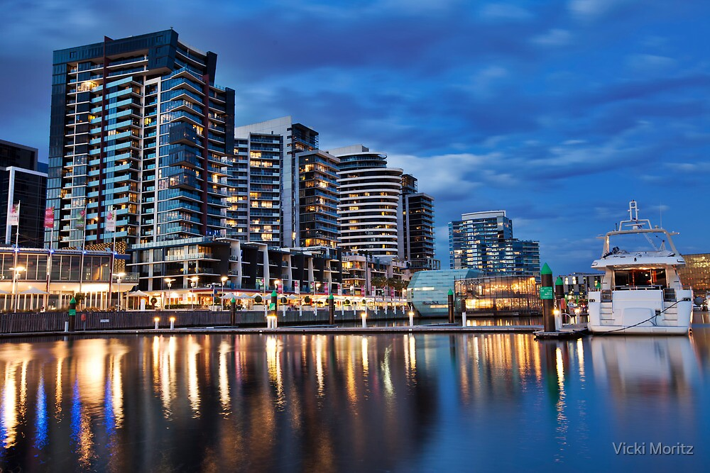 Docklands, Waterfront City by Night #2 by Vicki Moritz