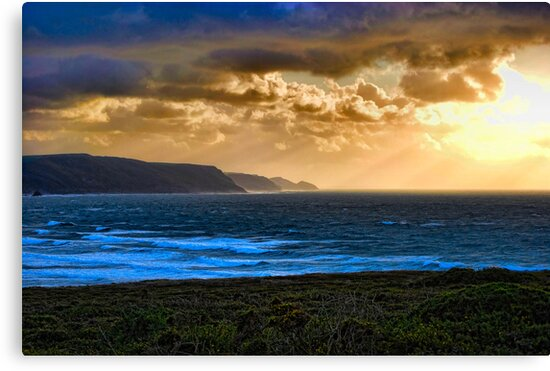 Dusk at Widemouth Bay in Cornwall by Jennie Anderson