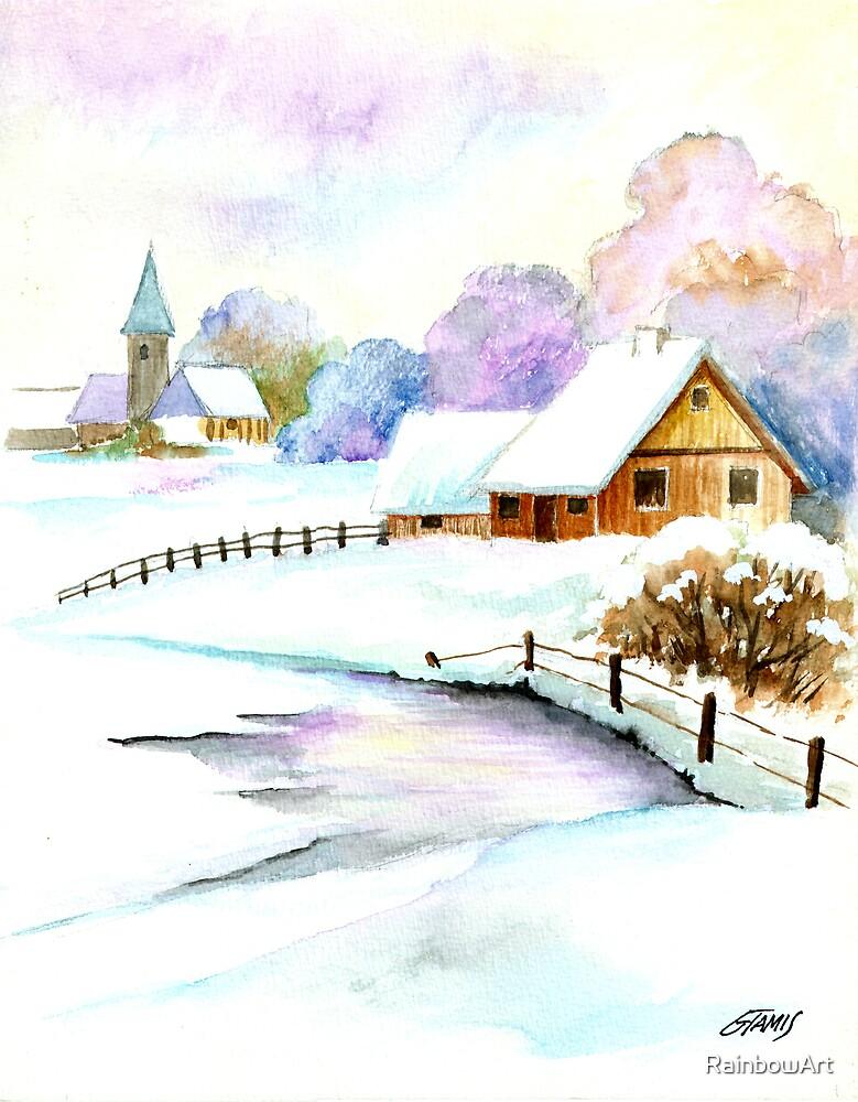 A Beautiful Winter Day - Aquarel by RainbowArt