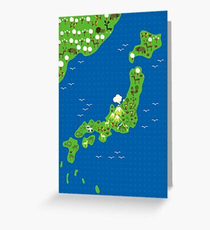 cartoon map of japan Greeting Card