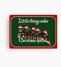 Little Things Make Christmas Special Rottweiler Greetings Canvas Print