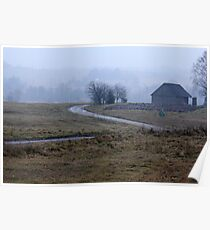 Farmstead in misty day in autumn Poster