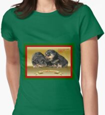I Know Where She's Hidden The Presents Rottweiler Puppy Christmas Wishes Women's Fitted T-Shirt