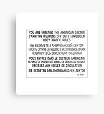Sie betreten den amerikanischen Sektor, Zeichen, Deutschland Metalldruck