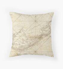 Vintage Map of Bermuda (1788) Throw Pillow
