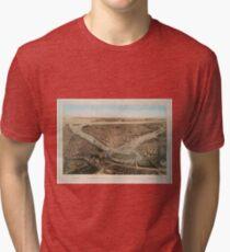 Camiseta de tejido mixto Vintage Pictorial Map of NYC and Brooklyn (1859)