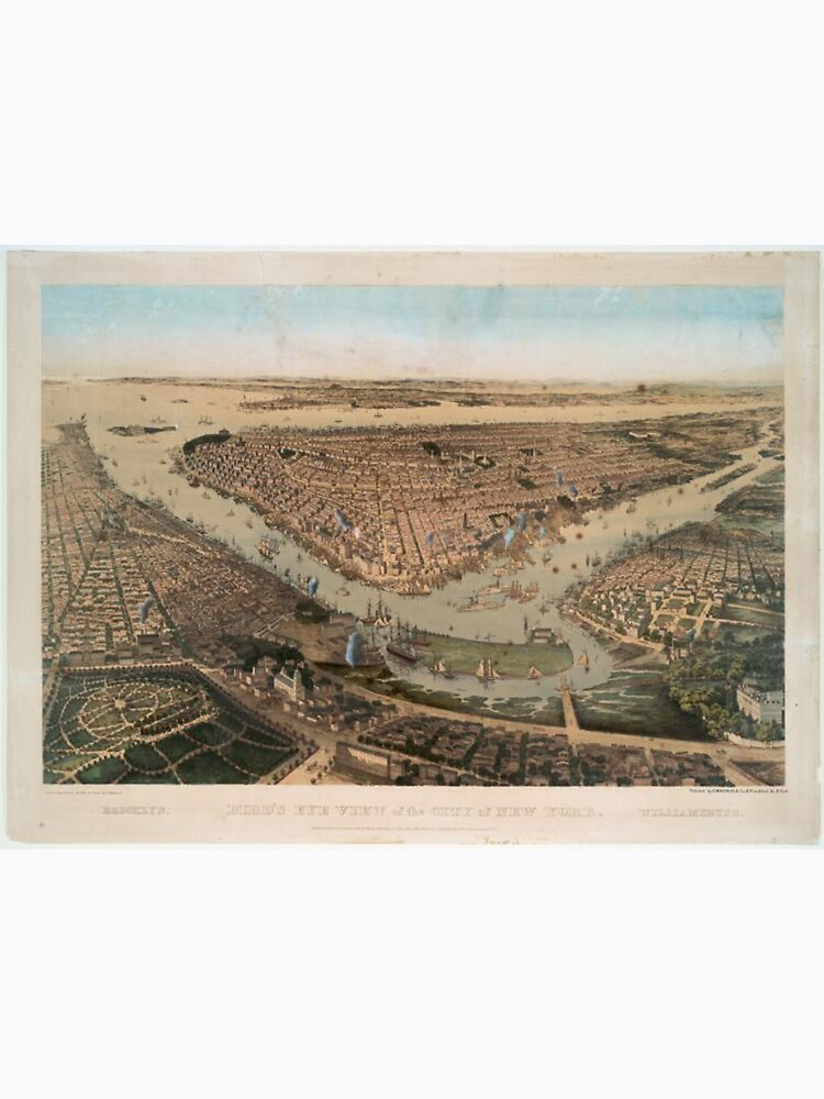 Vintage Pictorial Map of NYC and Brooklyn (1859) de BravuraMedia