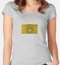 Lomo vintage camera pattern Women's Fitted Scoop T-Shirt