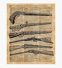 Vintage Weapons Antique Guns Dictionary Art Photographic Print