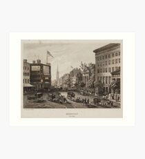 Lámina artística Vintage Broadway NYC Illustration (1840)