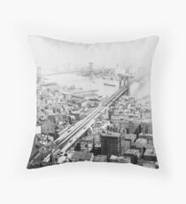 Cojín Vintage Brooklyn and Manhattan Bridge Photograph
