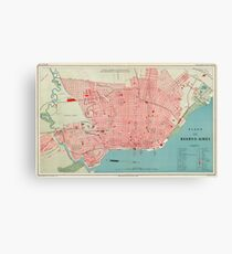 Vintage Map of Buenos Aires Argentina (1888) Canvas Print