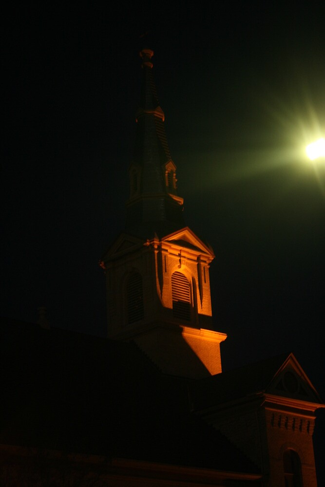church steeple at night by wolf6249107