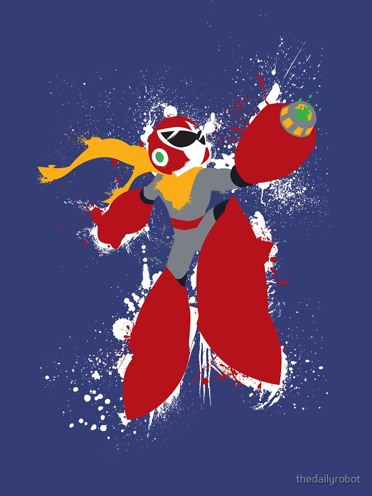 Protoman Splattery Shirt or Hoodie - Any Color by thedailyrobot