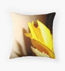 Lady Bug on Sunflower Petal 2 Throw Pillow