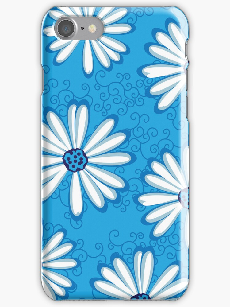 Pretty Sky Blue and White Daisy Flower Tribal Tattoo Design by rozine