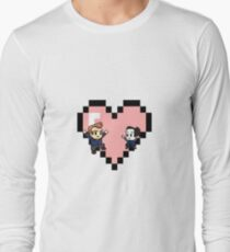 """""""Love in 8-bit"""": Jeff and Annie (Style C) Long Sleeve T-Shirt"""