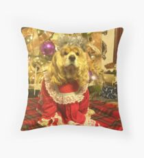 Maggie Pooh Bear at Christmas Throw Pillow