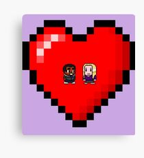 """""""Love in 8-bit"""": Britta and Troy (Style A) Canvas Print"""