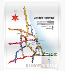 Chicago Highway Names Poster