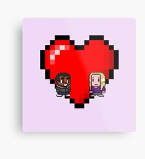 """Love in 8-bit"": Britta and Troy (Style B) Metal Print"