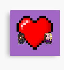 """""""Love in 8-bit"""": Britta and Troy (Style C) Canvas Print"""