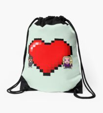 """""""Love in 8-bit"""": Britta and Troy (Style C) Drawstring Bag"""