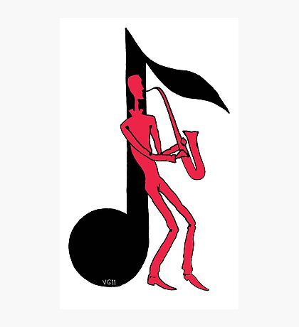 Saxophone Playing Man pen ink red and black drawing Photographic Print
