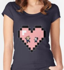 """""""Love in 8-bit"""": Jeff and Annie (Style D) Women's Fitted Scoop T-Shirt"""