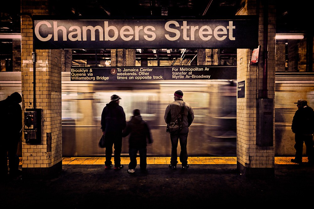 J Train Arrives at Chambers Street by Chris Lord