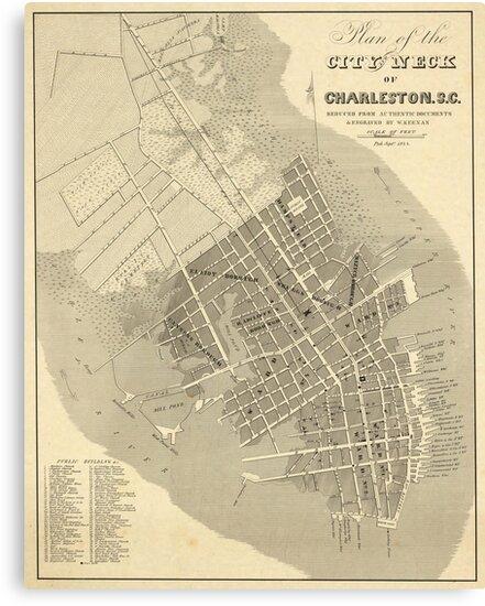 Vintage South Carolina Map.Vintage Map Of Charleston South Carolina 1844 Canvas Prints By