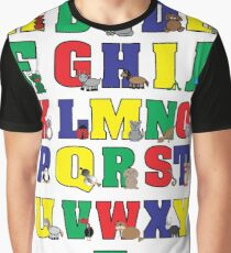 Animal Alphabet Poster (Primary Colors) Graphic T-Shirt