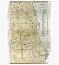 Vintage Map of Chicago (1891) Poster