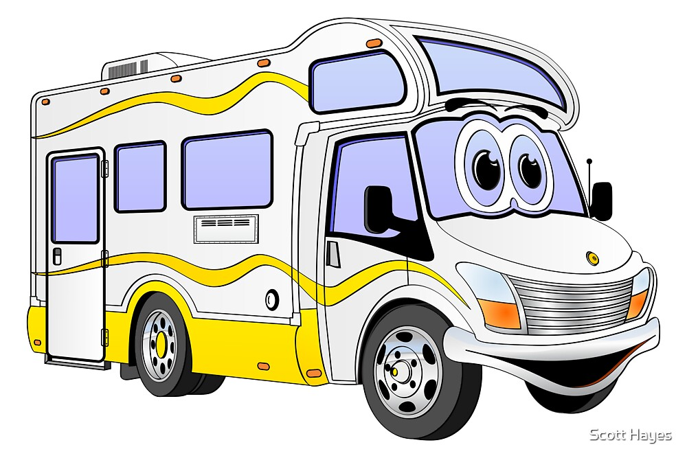 Yellow Camper Cartoon by Graphxpro