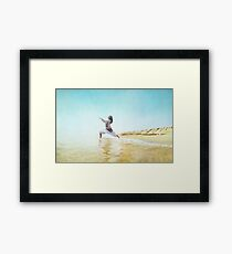 Woman in prayer position. Yoga in the beach,  Barcelona Framed Print