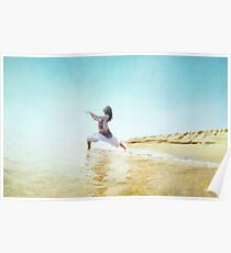 Woman in prayer position. Yoga in the beach,  Barcelona Poster