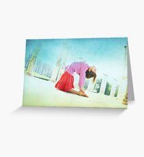 Ustrasana, Yoga in the beach, Barcelona  Greeting Card