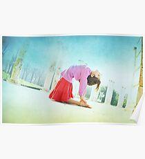 Ustrasana, Yoga in the beach, Barcelona  Poster