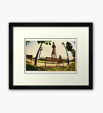 Handstand in the bench, Yoga in the park  Framed Print