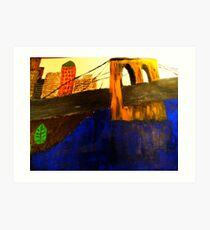 Modern Lower Manhattan Painting with Brooklyn Bridge Art Print