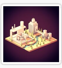 Low Poly Isometric Landscape Sticker