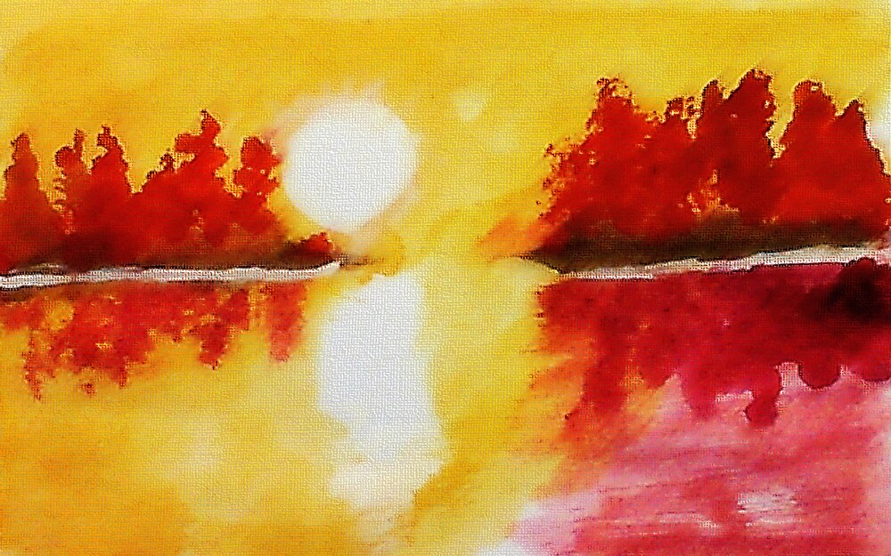 Yellow scene on lake, watercolor by Anna  Lewis, blind artist