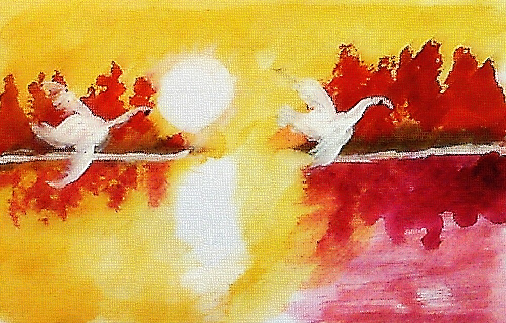 Before sunset,,,watercolor by Anna  Lewis, blind artist
