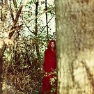 Red cloak teenage girl in the woods by Sharonroseart