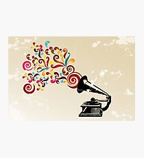 Abstract swirl background with record player Photographic Print