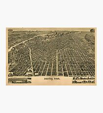 Vintage Pictorial Map of Denver CO (1889) Photographic Print