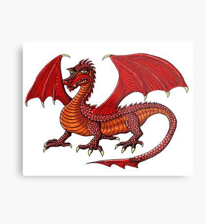 Red Dragon cartoon drawing art Metal Print