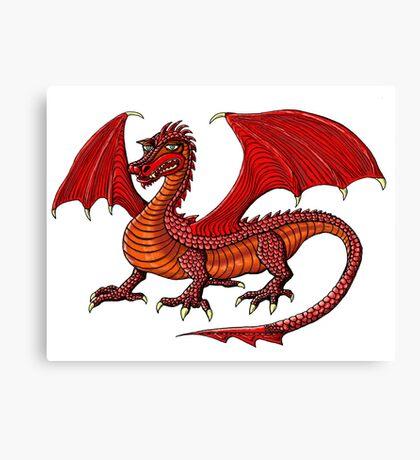 Red Dragon cartoon drawing art Canvas Print