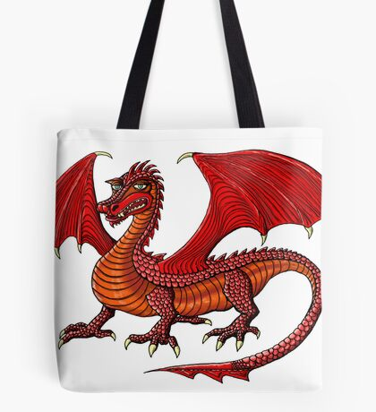 Red Dragon cartoon drawing art Tote Bag