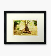 Yoga meditation by the tree Framed Print